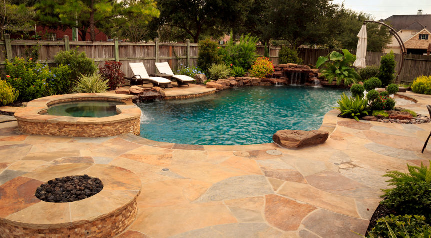$80k-$100k Custom Pool with spa, waterfall and flagstone pool decking