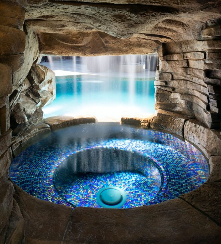 Pool Grotto with spa in the woodlands